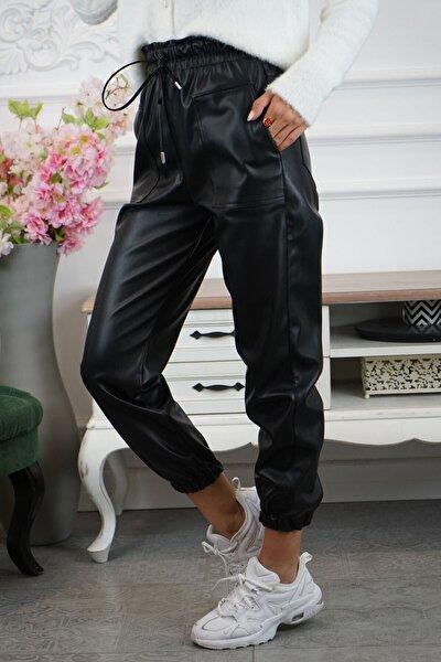 Kadın Siyah Suni Deri Lastikli Pantalon