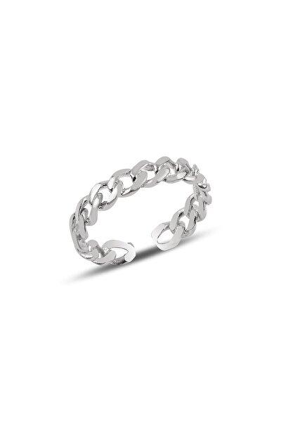 Gümüş Ayarlamalı Rodyumlu Zincir Modeli Yüzük