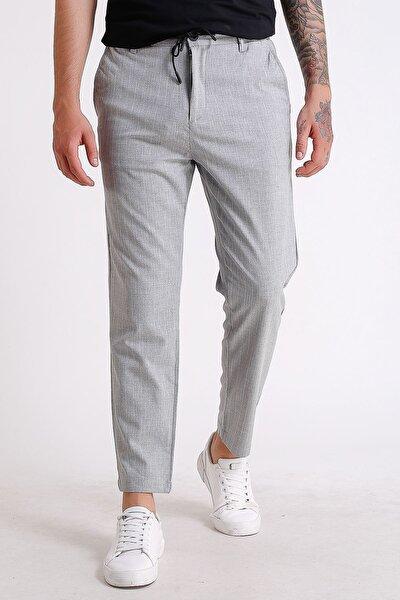 Erkek Gri  Beli Lastikli Ipli Çizgili Jogger Pantolon
