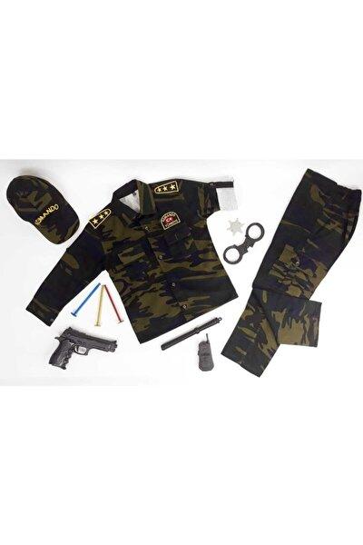 Unisex Çocuk Kahverengi Komando Asker Kostümü Çocuk Kıyafeti