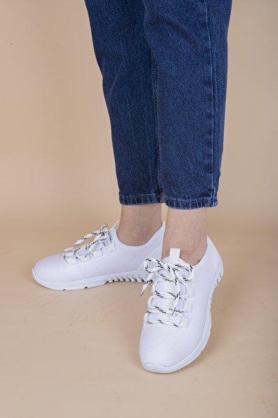 Kadın Beyaz Triko Spor Ayakkabı