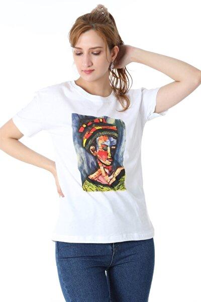 Kadın Beyaz Tablo Kadın Baskılı Tshirt