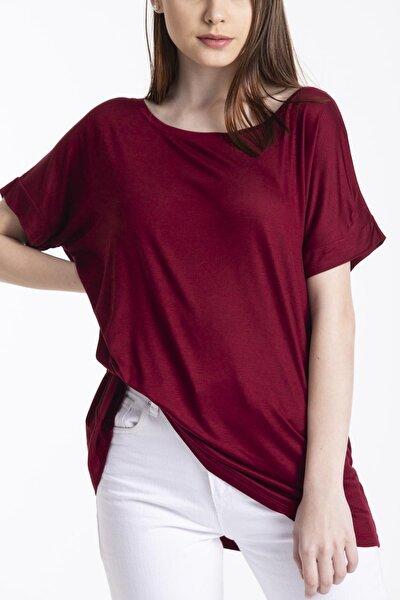Kadın Bordo Sırtı Çapraz Detay Basic Salaş Tshirt