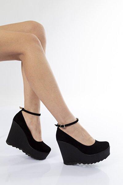 Kadın Siyah Süet Dolgu Topuklu Ayakkabı 1205cnr