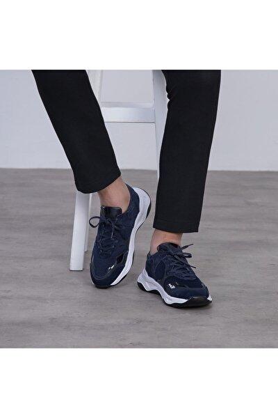 G055 Lacivert File Detaylı Siyah Beyaz Eva Taban Hakiki Süet Deri Erkek Sneakers