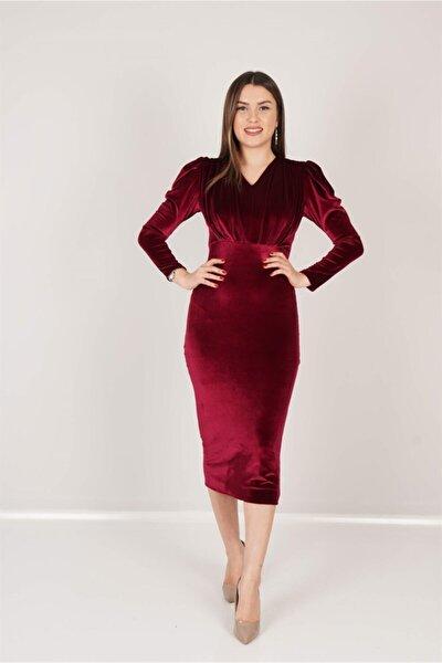Kadın Bordo Kadife Büzgü Detaylı Elbise