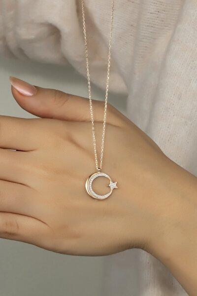 Pırlanta Modeli Gümüş Ay Yıldız Kolye