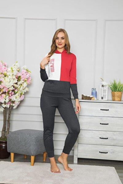 Kadın Kırmızı Beyaz Siyah Pijama Takımı