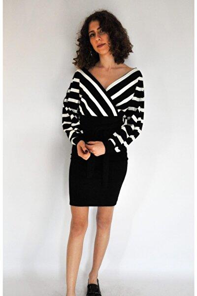 Kadın Siyah Etek Kısmı Yaka Çizgili Triko Elbise