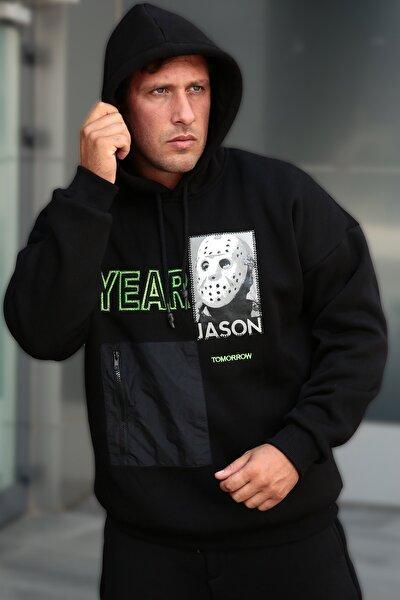 Erkek Siyah Baskılı Nakışlı Sweatshirt 1kxe8-44331-02