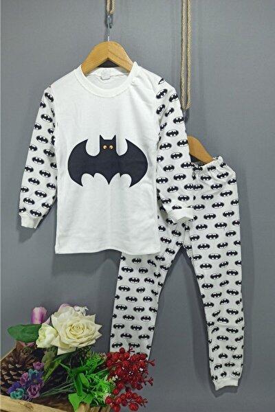 Erkek Çocuk Beyaz Batman Desenli Pijama Takımı 7-8-9 Yaş