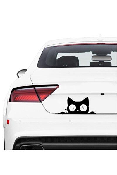 Kedi Bagajdan Bakan Kedi Sticker Araba Oto Cam Sticker Siyah 25 X 11 Cm