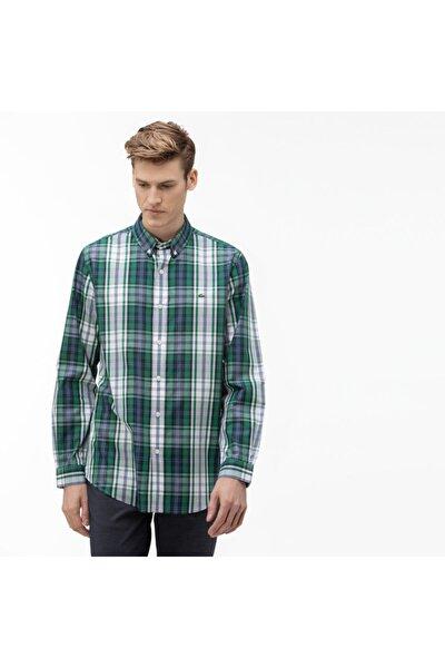 Erkek Regular Fit Düğmeli Yaka Ekose Desenli Renkli Gömlek