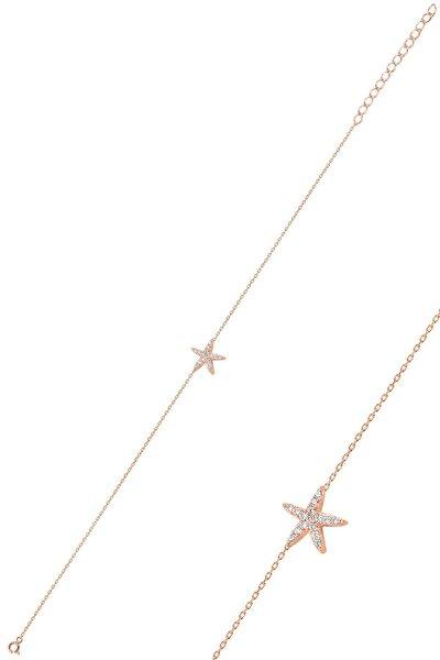 Gümüş Rose Zirkon Taşlı Deniz Yıldızı Bileklik