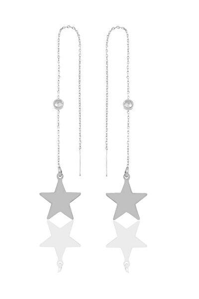 Gümüş Taşlı Zincirli Küpe Yıldız Modeli