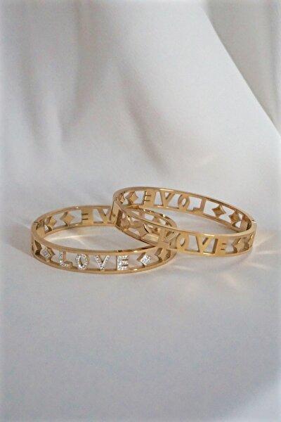 Love Zirkon Taşlı Çelik Altın Renk Kelepçe Bileklik