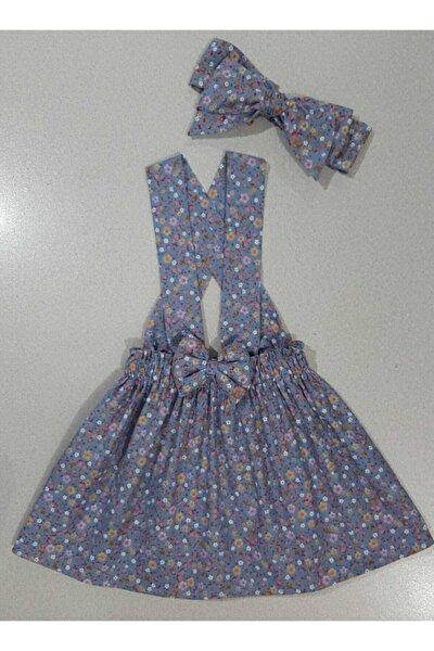 Kız Bebek Mavi Çıtır Çiçek Slopet Elbise Bandana
