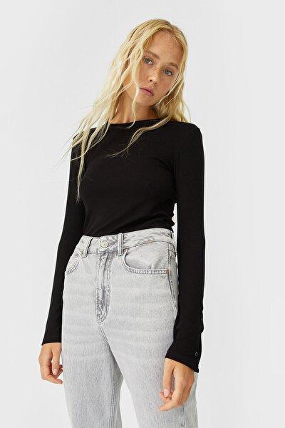 Kadın Siyah Uzun Kollu T-Shirt 06509670