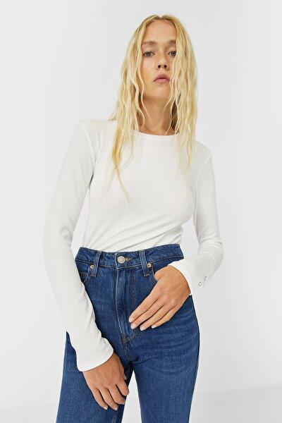 Kadın Ekru Uzun Kollu T-Shirt 06509670