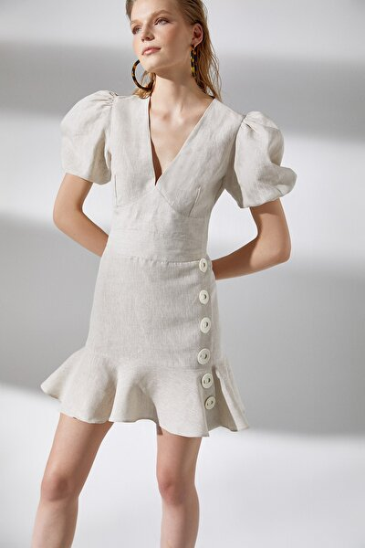 Kadın Bej  Düğme Detaylı Keten Elbise