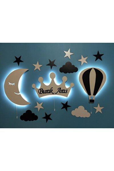 Dekoratif Ahşap Çocuk Odası  Ay Taç Balon Gece Lambası Ledli Aydınlatma
