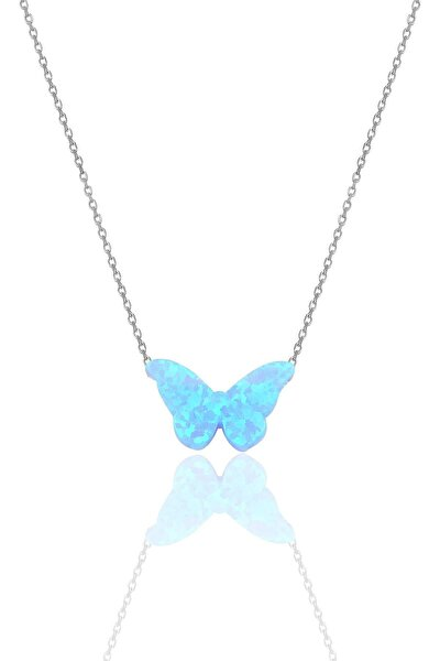 Gümüş Rodyumlu Opal Taşlı Kelebek Kolye