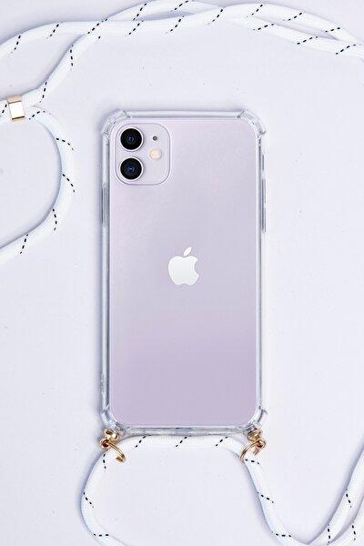 Iphone 11 Tasarımlı Beyaz Ipli Askılı Şeffaf Telefon Kılıfı