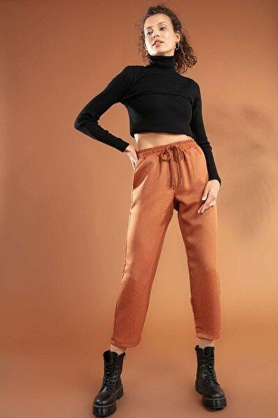 Kadın Kiremit  Beli Lastikli Bağcıklı Cepli Pantolon