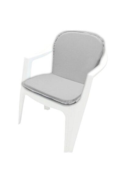 Sırtlıklı Sandalye Minderi Açık Gri