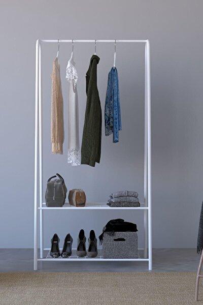 2 Raflı Metal Portmanto  Ayaklı Elbise Askısı ve Konfeksiyon Askılık Beyaz