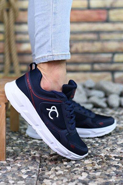 Lacivert Beyaz Kırmızı Çizgili Erkek Sneaker 0012S06