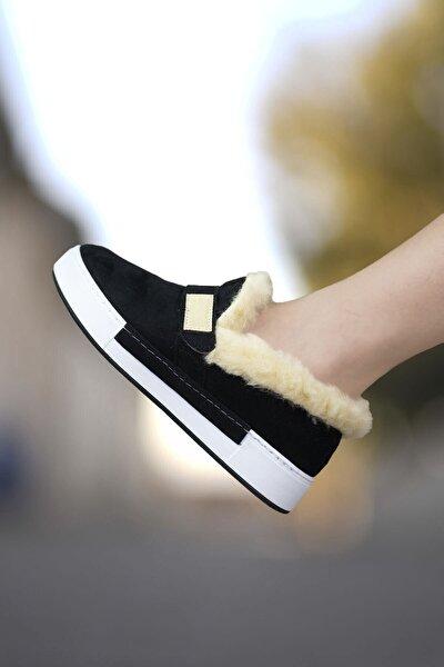 Siyah Beyaz Kadın Kürklü Sneaker 0012H01