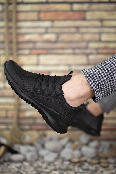 Siyah Siyah Cilt Erkek Sneaker 0012180