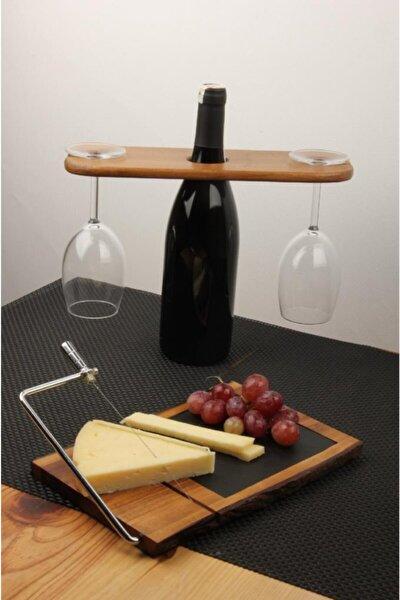 Özel Tasarım 4 Parça 2 Kişilik Peynir Tabaklı,Şarap Servis Sunum Seti