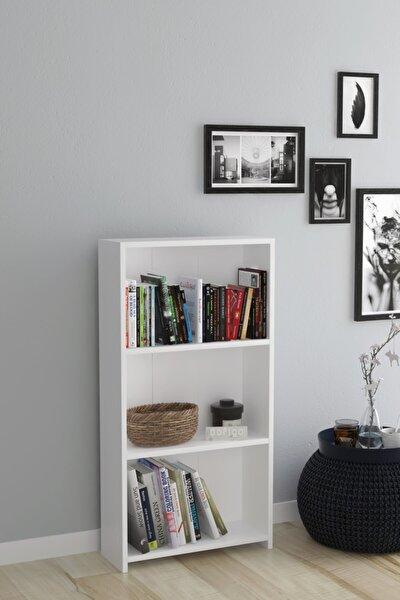 3 Raflı Kitaplık Beyaz