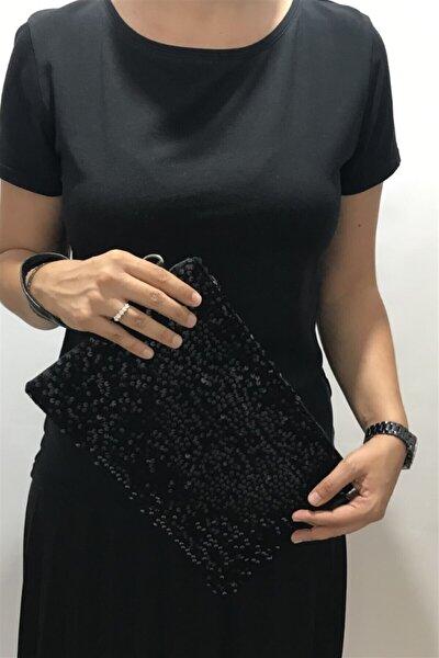 Siyah Pullu Clutch Portföy Çanta