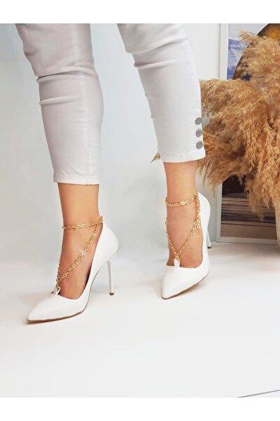 Kadın Beyaz Zincirli Topuklu Ayakkabı