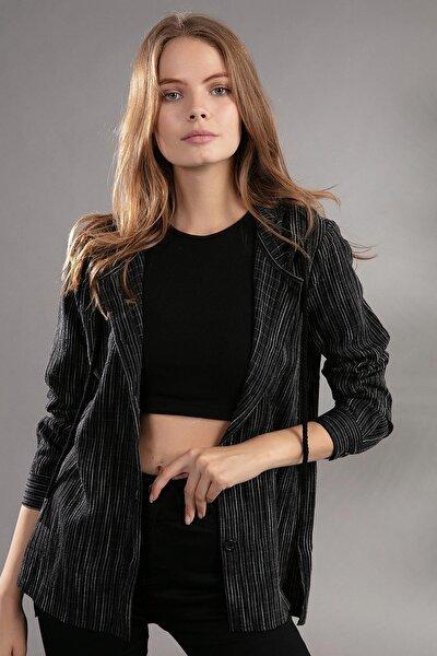 Kadın Bağcıklı Kapşonlu Çizgili Gömlek 30699