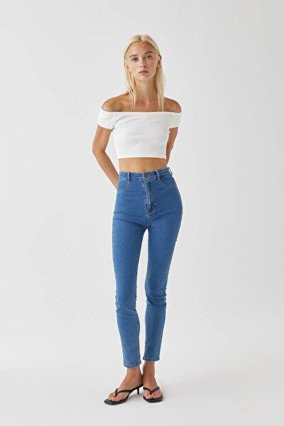 Kadın Mavi Yüksek Bel Skinny Jean