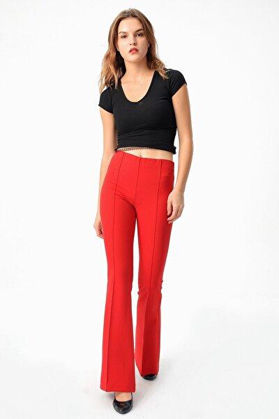 Kadın Kırmızı Yüksek Bel Önü Arka Dikişli İspanyol Pantolon