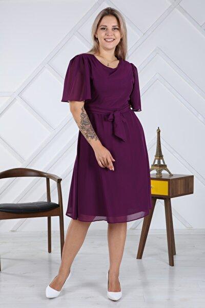 Kadın Büyük Beden Bağlama Detaylı Şifon Elbise 4257/110