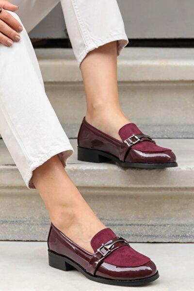 Kadın Bordo Suni Deri  Oxford Ayakkabı