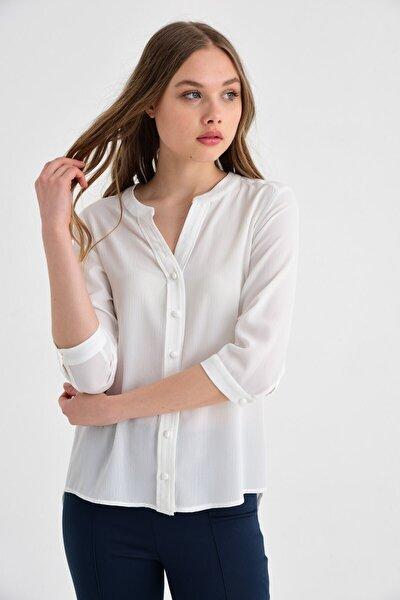 Kadın Krem Uzun Kollu Gömlek