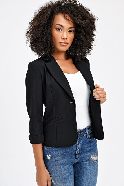 Kadın Siyah Yakalı Capri Kol Kolu Duble Mono Ofis Şık Ceket 30019