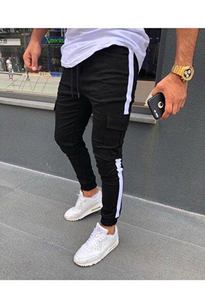 Erkek Siyah Yandan Çizgili Kargo Pantolon