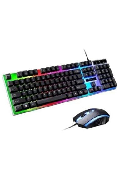 8017 Led Kablolu Oyuncu Q Klavye Mouse Set