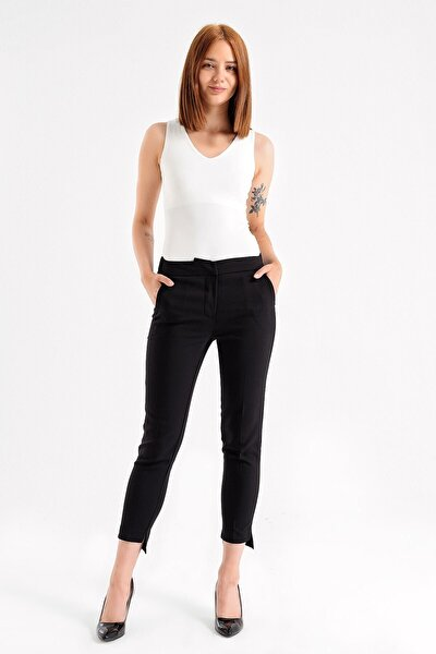 Kadın Arka Lastikli Yüksek Bel Yırtmaçlı Paça Ofis Rahat Pantolon- Siyah