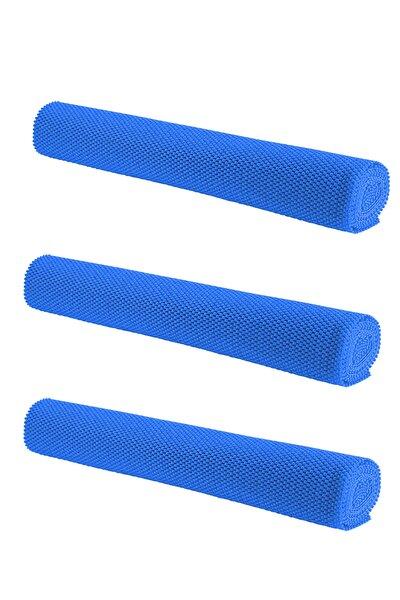 Halı Kaydırmaz 3 Adet Mavi, Dolap Içi Kaydırmaz Raf Örtüsü 45x90 Cm