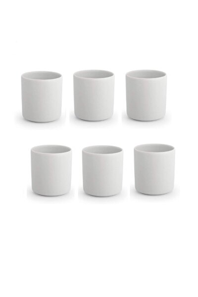 6lı Espresso Takımı Espresso Seti Porselen Kahve Fincanı Kulpsuz Fincan Espresso Fincan 5x6 Cm Beyaz