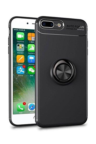 Apple Iphone 6s Plus Kılıf Renkli Yüzüklü Manyetik Silikon Kapak Siyah - Siyah